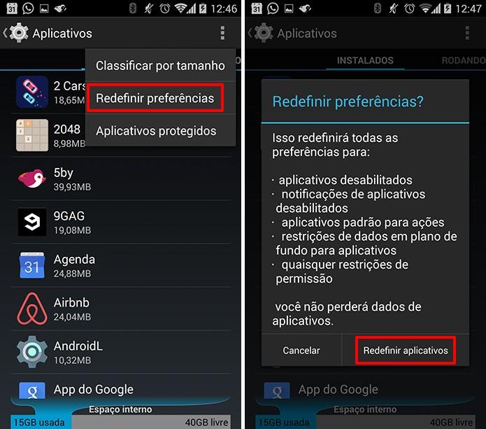 Dicas android com a redefinição dos aplicativos