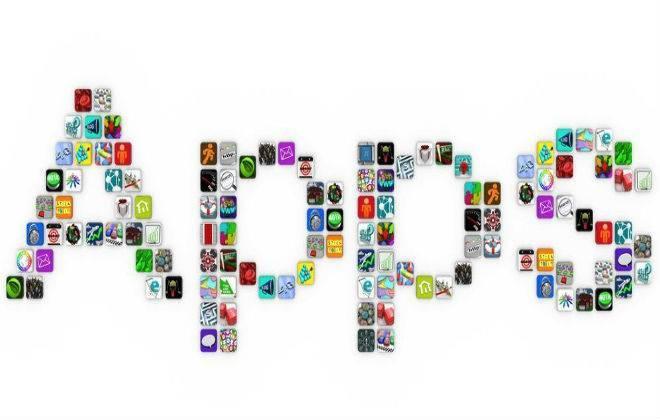 palavra app confeccionada com logos de aplicativos