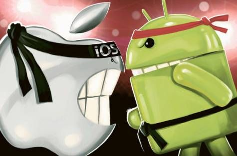 ícones dos sistemas operacionais android e ios lutando