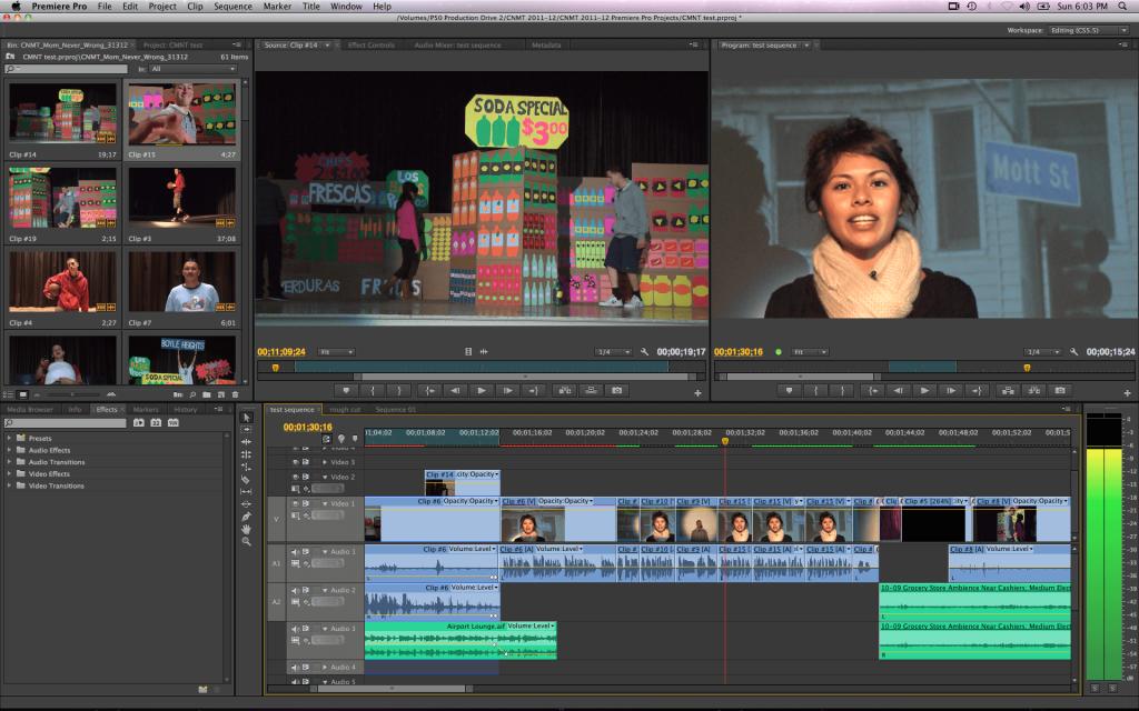 Software Adobe Premiere para edição de vídeos