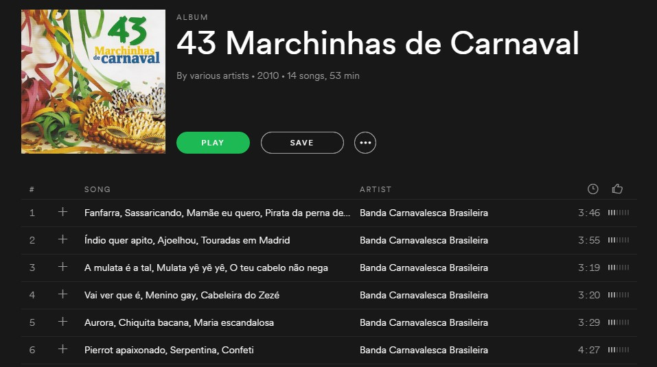 Playlist 43 Marchinhas de Carnaval