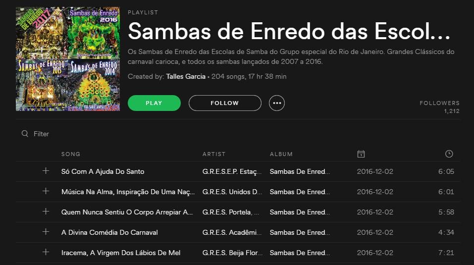 Playlist Sambas de Enredo das Escolas de Samba do Rio de Janeiro