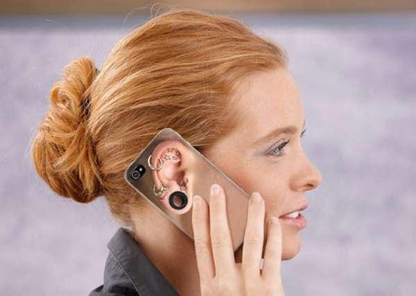 Capa de celular com foto de orelha