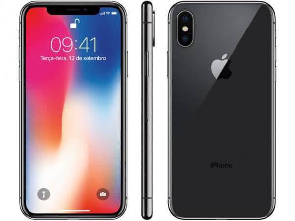 iPhone X preto nas vistas frontal, lateral e traseira, com destaque para a frontal, com a tela ligada.