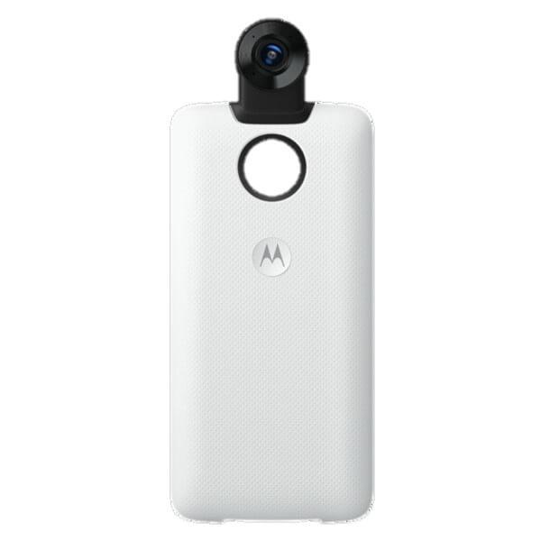 Moto Z Moto 360 Camera, na cor branca. O fundo da imagem é branco.
