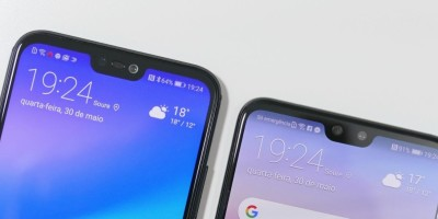 vista superior de dois smartphones com notch, entalhe na tela.